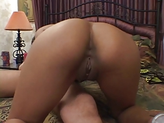 Slim seductive Asian pulverized by thick white cock in the bedroom