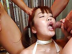 Gorgeous Asian redhead is bandaged and gangbanged like a slu